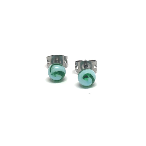 Sea Swirl Handmade Glass Stud Earrings