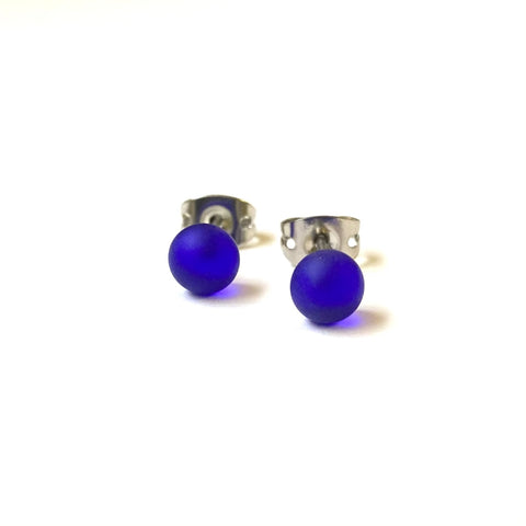 Frosted Cobalt Handmade Glass Mini Stud Earrings