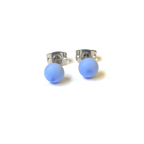 Frosted Periwinkle Handmade Glass Mini Stud Earrings
