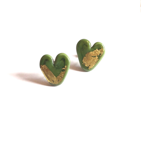 Olive Gold Handmade Glass Heart Stud Earrings