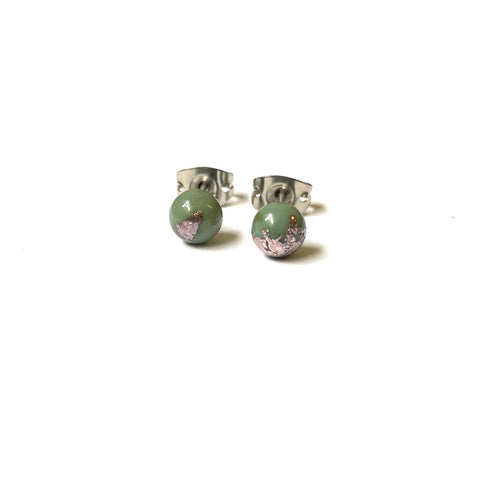 Sage Green Glass and Palladium Mini Studs