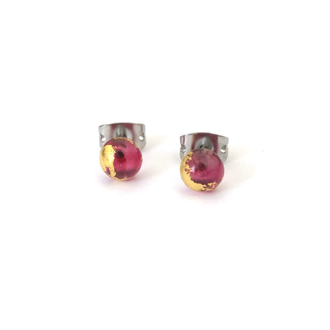 Cranberry Pink and Gold Handmade Glass Stud Earrings