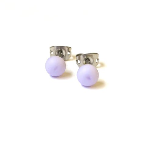 Frosted Lilac Handmade Glass Mini Stud Earrings