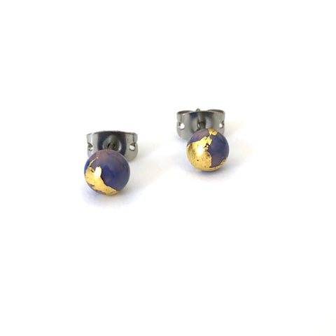 Berry Swirl and Gold Handmade Glass Stud Earrings