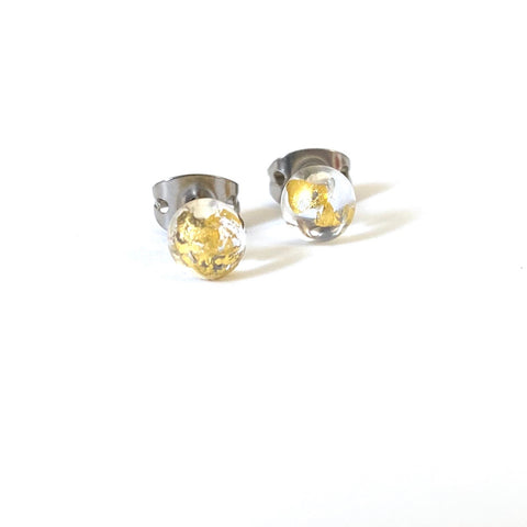 Clear Glass and Gold Droplet Earrings, Handmade Mini Studs
