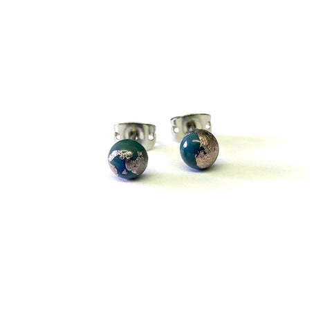 Atlantis Glass and Palladium Mini Studs