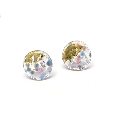 Glass and Gold Midi Mottled Stud Earrings, Cotton