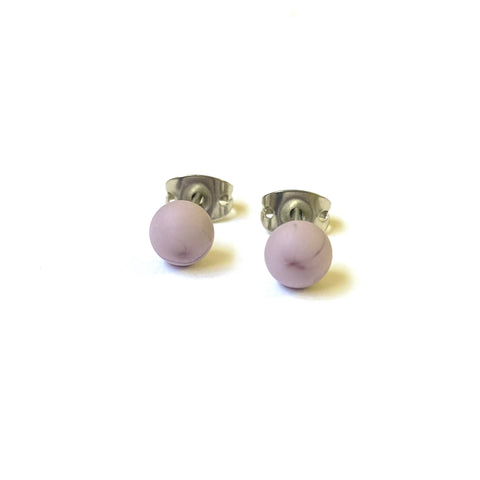 Frosted Iris Handmade Glass Mini Stud Earrings