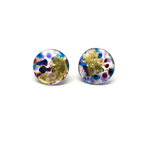 Glass and Gold Midi Mottled Stud Earrings, Shipwreck