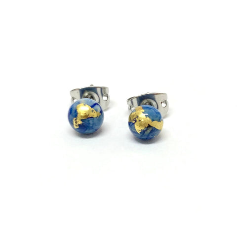 Delft Mini Marble Studs, Glass and Gold