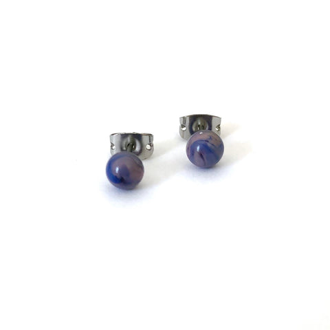 Berry Swirl Handmade Glass Stud Earrings