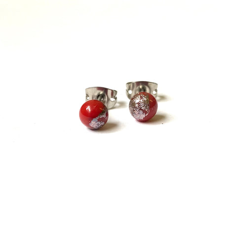 Terracotta Glass and Palladium Mini Studs
