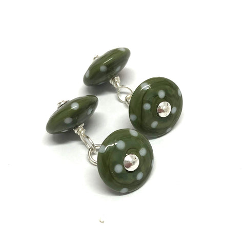 Dotty Olive Handmade Glass Cufflinks