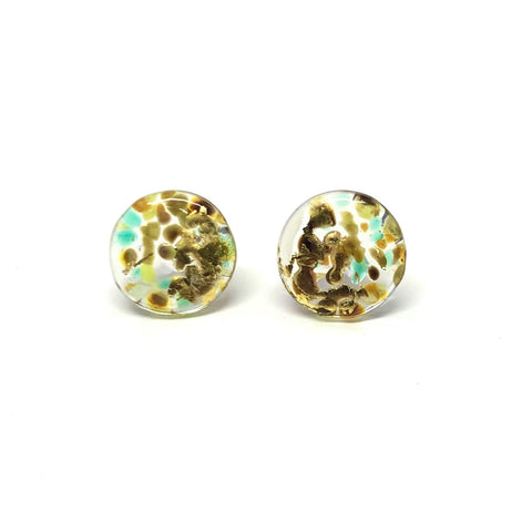 Glass and Gold Midi Mottled Stud Earrings, Hedgerow
