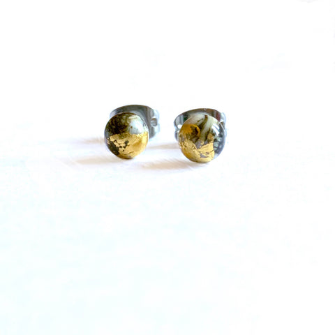 Stone Mini Marble Studs, Handmade Glass and Gold