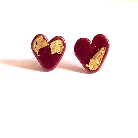 Burgundy Gold Handmade Glass Heart Stud Earrings