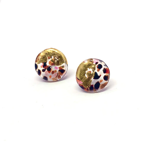 Glass and Gold Midi Mottled Stud Earrings, Bramble