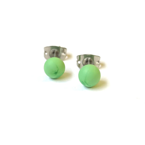 Frosted Leaf Green Handmade Glass Mini Stud Earrings