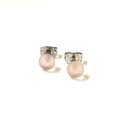 Frosted Blush Handmade Glass Mini Stud Earrings
