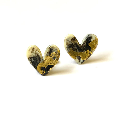 Stone Glass and Gold Marble Heart Studs