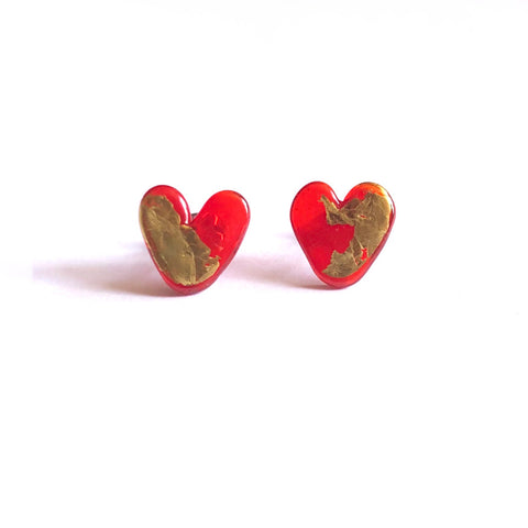 Ruby Gold Handmade Glass Heart Stud Earrings