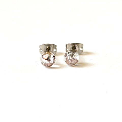 Clear Glass and Palladium Mini Studs