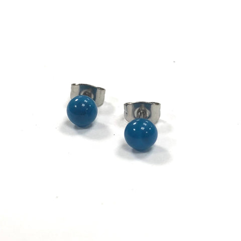 Turquoise Handmade Glass Stud Earrings