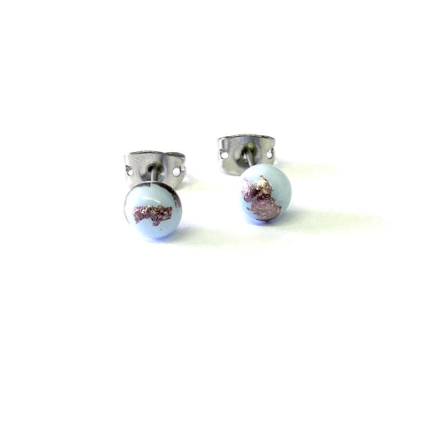 Limited Edition Milky Blue Glass and Palladium Mini Studs