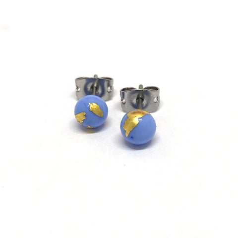 Periwinkle and Gold Handmade Glass Stud Earrings