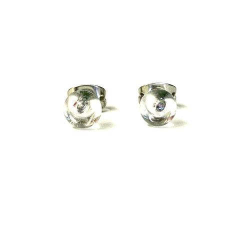 Clear Glass Droplet Handmade Mini Stud Earrings