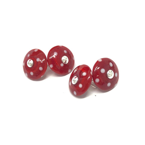 Dotty Red Handmade Glass Cufflinks