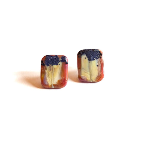 Ryogoku Handmade Glass Panel Stud Earrings