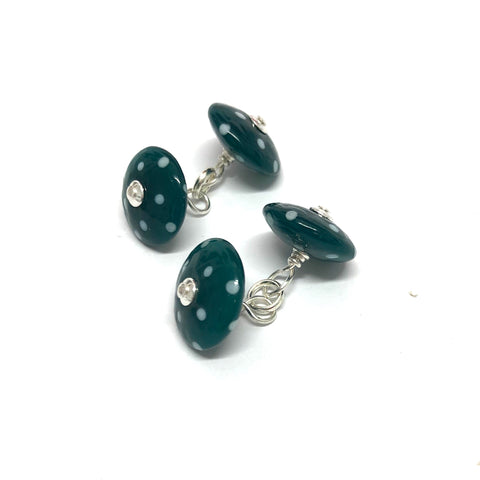Dotty Teal Handmade Glass Cufflinks