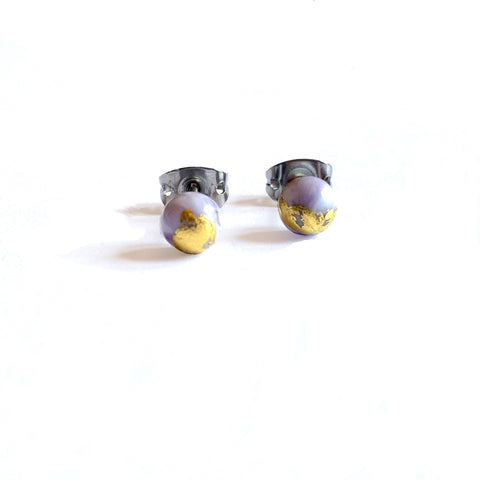 Agate Mini Marble Studs, Glass and Gold