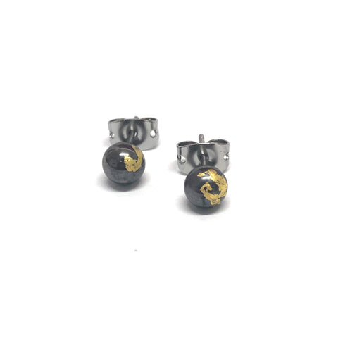 Gunmetal and Gold Handmade Glass Stud Earrings