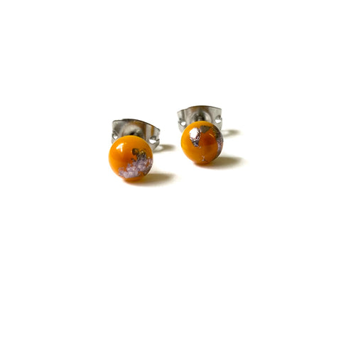 Ochre Glass and Palladium Mini Studs