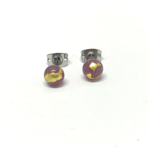 Thistle and Gold Handmade Glass Stud Earrings