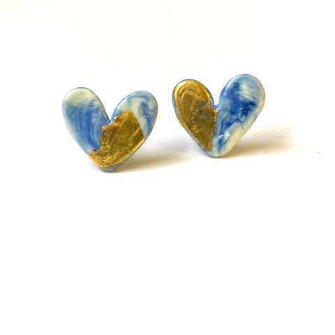 Delft Glass and Gold Marble Heart Studs