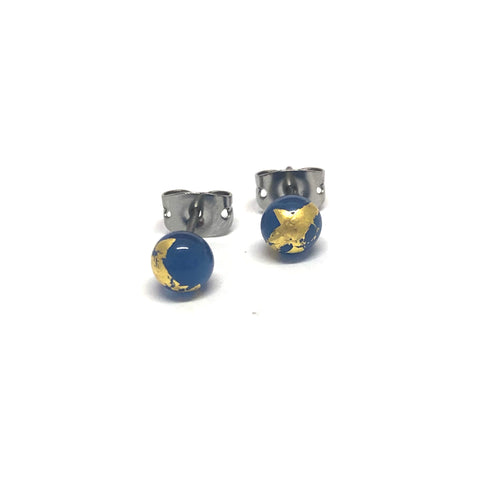 Slate Blue and Gold Handmade Glass Stud Earrings
