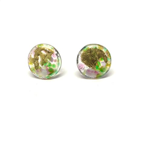 Glass and Gold Midi Mottled Stud Earrings, Freesia