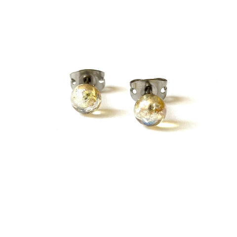 Clear Glass and Silver Mini Studs