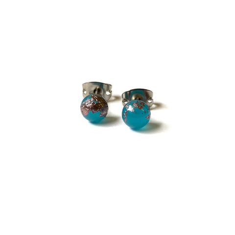 Neptune Blue Glass and Palladium Mini Studs
