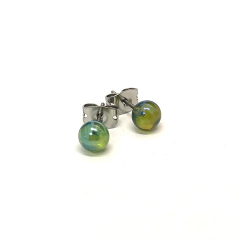 Aurora Silver Green Handmade Glass Stud Earrings