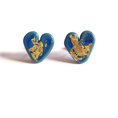Atlantis Gold Handmade Glass Heart Stud Earrings