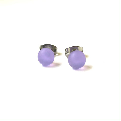 Frosted Crocus Handmade Glass Mini Stud Earrings