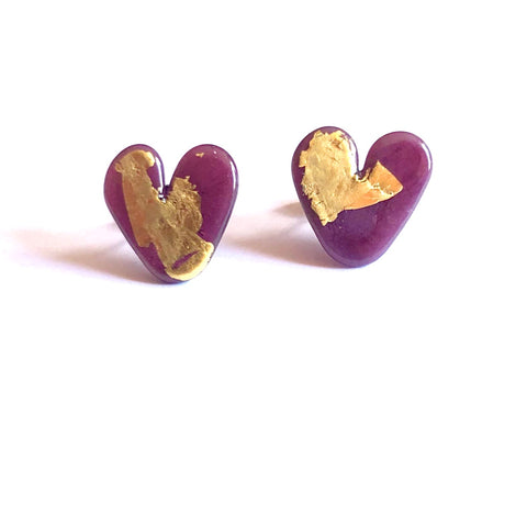 Plum Gold Handmade Glass Heart Stud Earrings