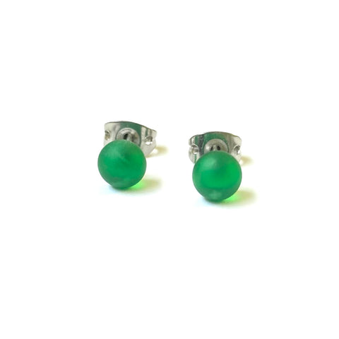 Frosted Emerald Handmade Glass Mini Stud Earrings