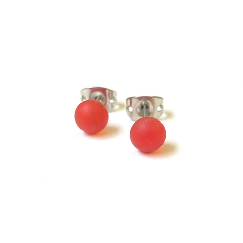 Frosted Ruby Handmade Glass Mini Stud Earrings