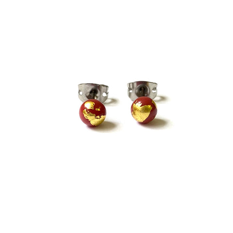 Limited Run Terracotta and Gold Mini Studs, Handmade Glass and Surgical Steel