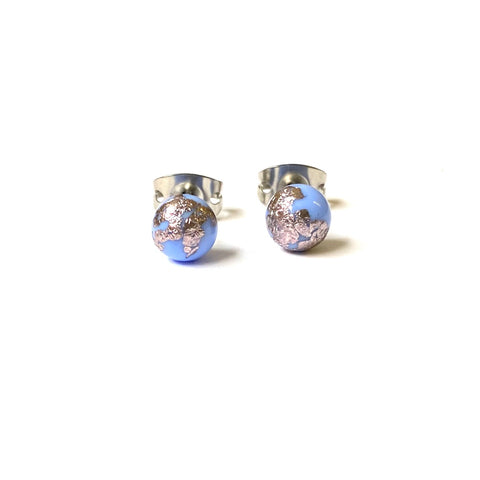 Periwinkle Blue Glass and Palladium Mini Studs